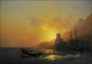 Sunset over the Great Lavra - Mount Athos 1846 84-117